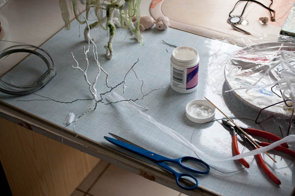 making the branches with wire